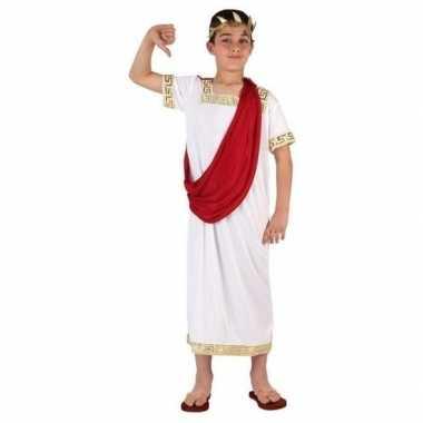 Romeinse toga verkleed verkleedkleding wit/rood voor jongens