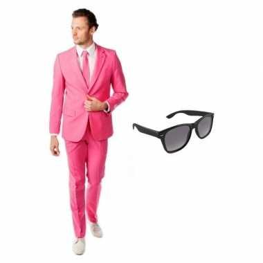 Roze heren verkleedkleding maat 50 (l) met gratis zonnebril