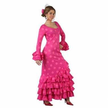 Roze spaanse verkleedkleding jurk