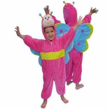 Roze vlinder verkleedkleding van pluche