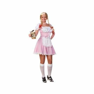 Roze/witte tiroler dirndl verkleed verkleedkleding/jurkje voor dames