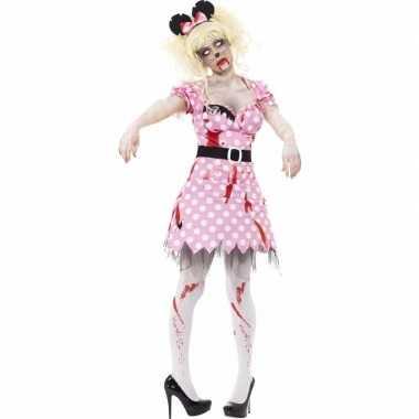 Roze zombie minnie verkleedkleding voor dames