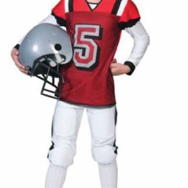 Rugby verkleedkleding rood met wit voor kids