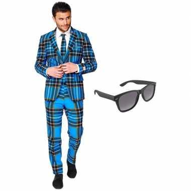 Schotse print heren verkleedkleding maat 56 (xxxl) met gratis zonnebr