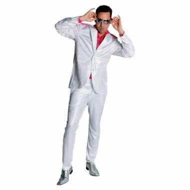 Seventies glitter verkleedkleding in het wit