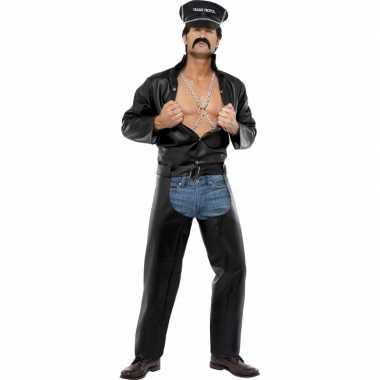 Sexy heren verkleedkleding motorrijder