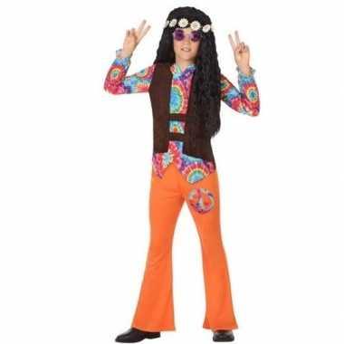 Sixties/hippie verkleed verkleedkleding oranje voor jongens