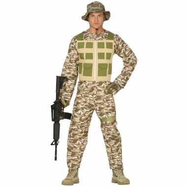 Soldaat verkleed pak/verkleedkleding camouflage/woestijn voor heren