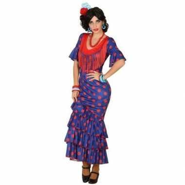 Spaanse flamencodanseres jurk blauw verkleed verkleedkleding voor dam