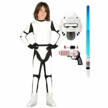 Space trooper verkleedkleding maat 122 134 voor kinderen