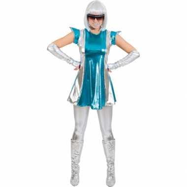 Space verkleedkleding blauw/zilver voor dames