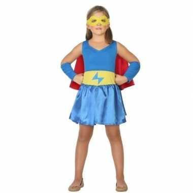 Supergirl jurk/jurkje verkleed verkleedkleding voor meisjes