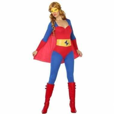 Superheld verkleed pak/verkleedkleding blauw/rood voor dames