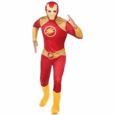 Superheld verkleed pak/verkleedkleding rood/goud voor heren