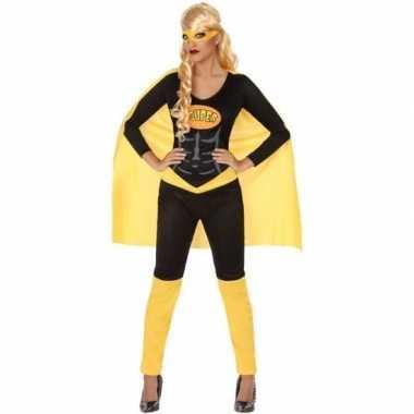 Superheld verkleed pak/verkleedkleding zwart/geel voor dames
