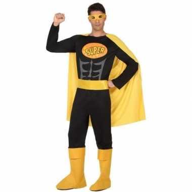 Superheld verkleed pak/verkleedkleding zwart/geel voor heren