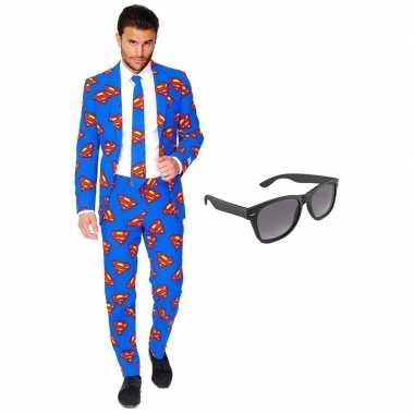 Superman heren verkleedkleding maat 58 (xxxxl) met gratis zonnebril