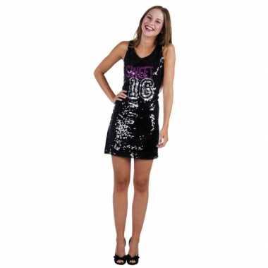 Verjaardagverkleedkleding zwart sweet 16 jurkje