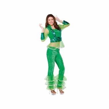 Verkleedkleding disco groen voor dames