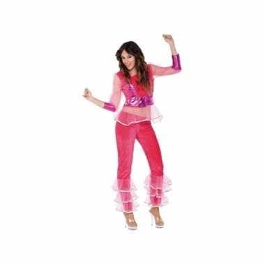 Verkleedkleding disco roze voor dames