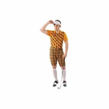 Verkleedkleding golfer oranje voor heren