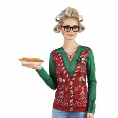Verkleedkleding kerstprint dames shirt