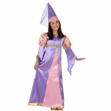 Verkleedkleding middeleeuws paarse prinses jurkje