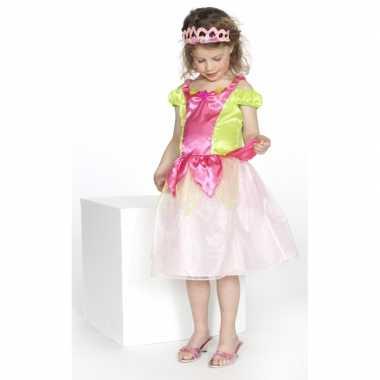 Verkleedkleding prinses roze/groen meisjes