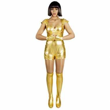 Verkleedkleding spacegirl goud voor dames