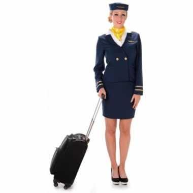 Verkleedkleding stewardess blauw