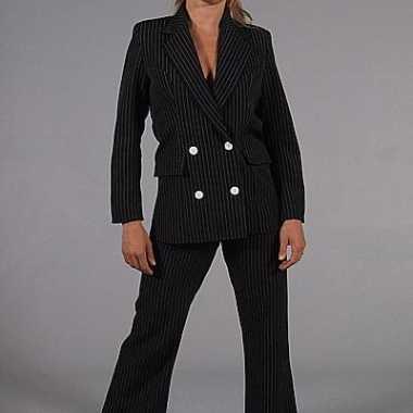 Vrouwen gangster verkleedkleding zwart