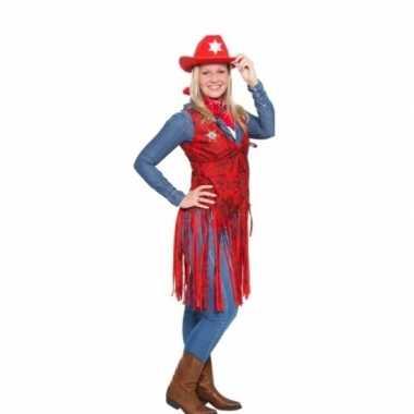 Western rood cowgirl verkleedkleding voor dames