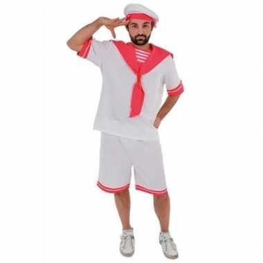 Wit/roze matrozen verkleedkleding voor heren