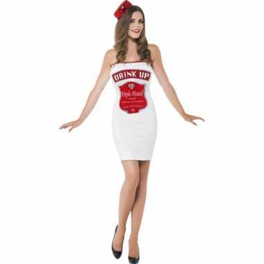 Witte dames verkleedkleding dranklabel