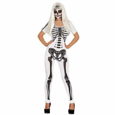 Witte skelet catsuit verkleedkleding voor dames