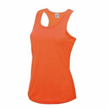 Yoga verkleedkleding neon oranje dames sport top