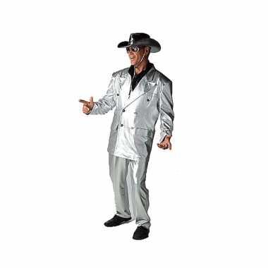 Zilveren bling verkleedkleding voor heren