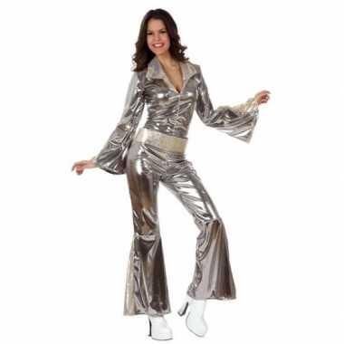 Zilveren dames disco pakjes verkleedkleding
