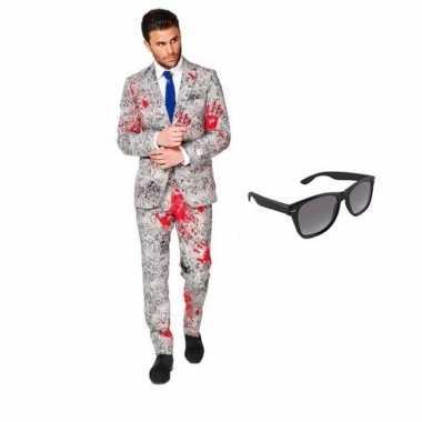 Zombie heren verkleedkleding maat 46 (s) met gratis zonnebril