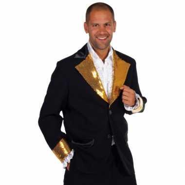 Zwart / goud glitter verkleedkleding heren