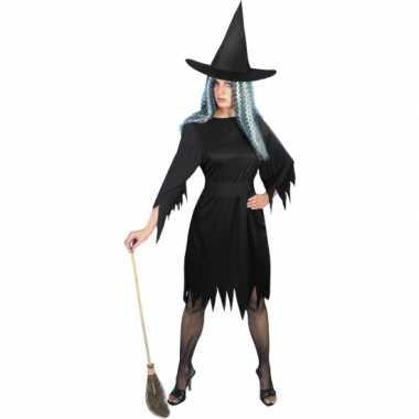 Zwart heksenverkleedkleding dames