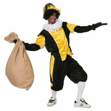 Zwart met geel pieten verkleedkleding