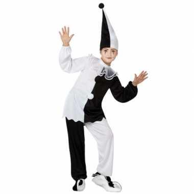 Zwart met wit pierrot clown verkleedkleding