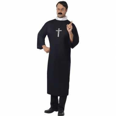 Zwart priester verkleedkleding voor heren