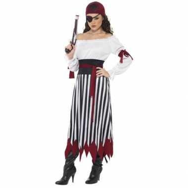 Zwart/wit/rood piraten verkleed verkleedkleding voor dames