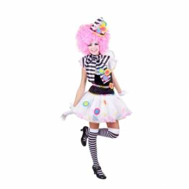 Zwart witte clown verkleedkleding voor dames