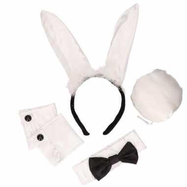 Zwart/witte playboy bunny verkleedkleding