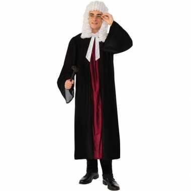 Zwarte/rode rechters toga verkleed verkleedkleding voor dames/heren