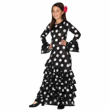Zwarte spaanse kids verkleedkleding jurk