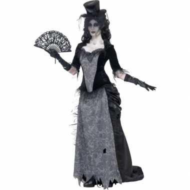 Zwarte weduwe verkleedkleding victoriaans